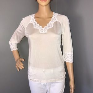 WinterSilks Woman's Top Silk and lace White M